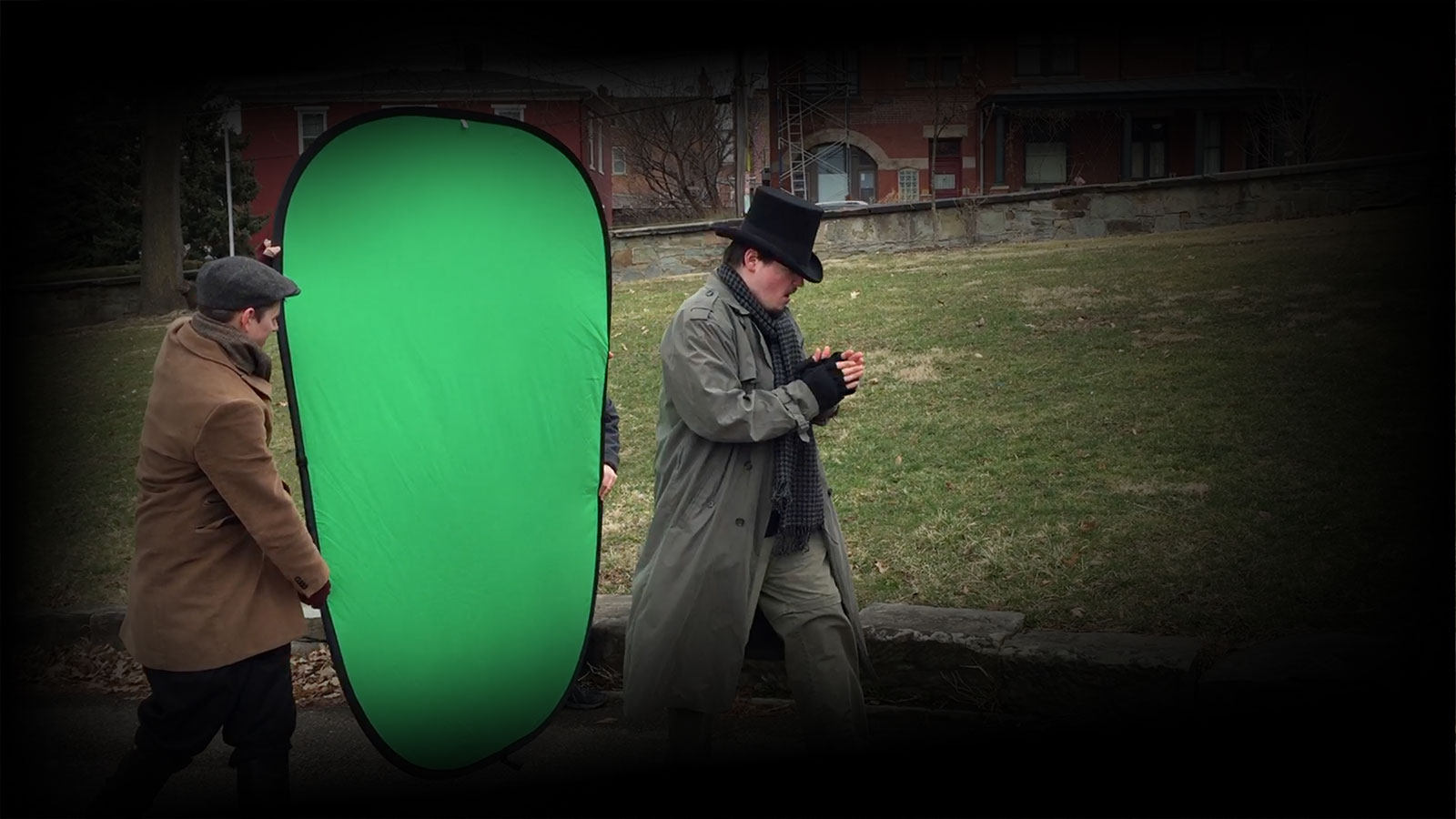 Background image an on-set greenscreen